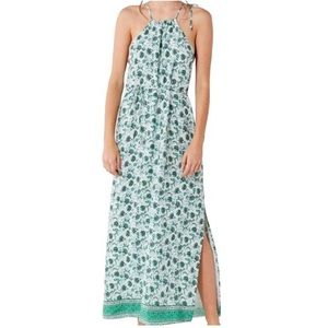 Green High-neck Casual Maxi Dress